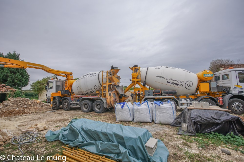 Concrete being delivered