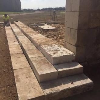 Bar steps reusing old stone